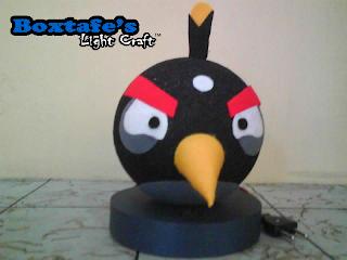 Lampu Tidur Benang Angry Bird Hitam
