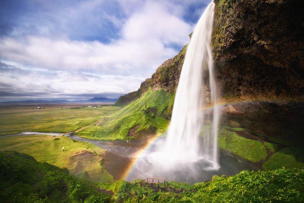 Free Falling Of Seljalandsfoss Waterfall