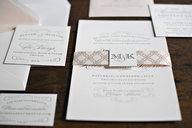Custom Wedding Monogram Invitation