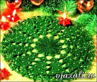 servilleta tejida con ganchillo con motivo de navidad y diagramas