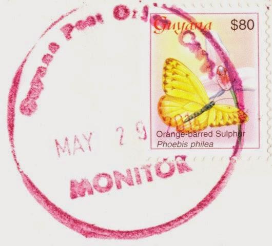 stamp, guyana, phoebis philea, orange-barred sulphur