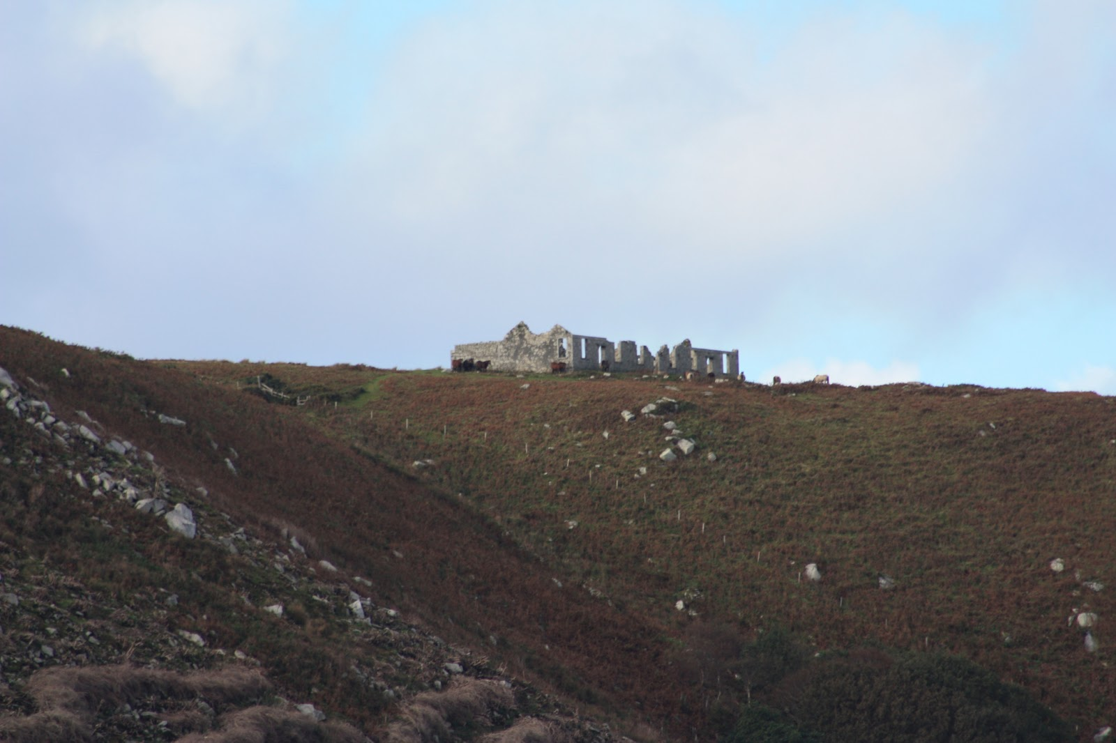 Ruined cottages on a hillside overlooking the sea, but you can't see the sea. It is there, but not in the photo.