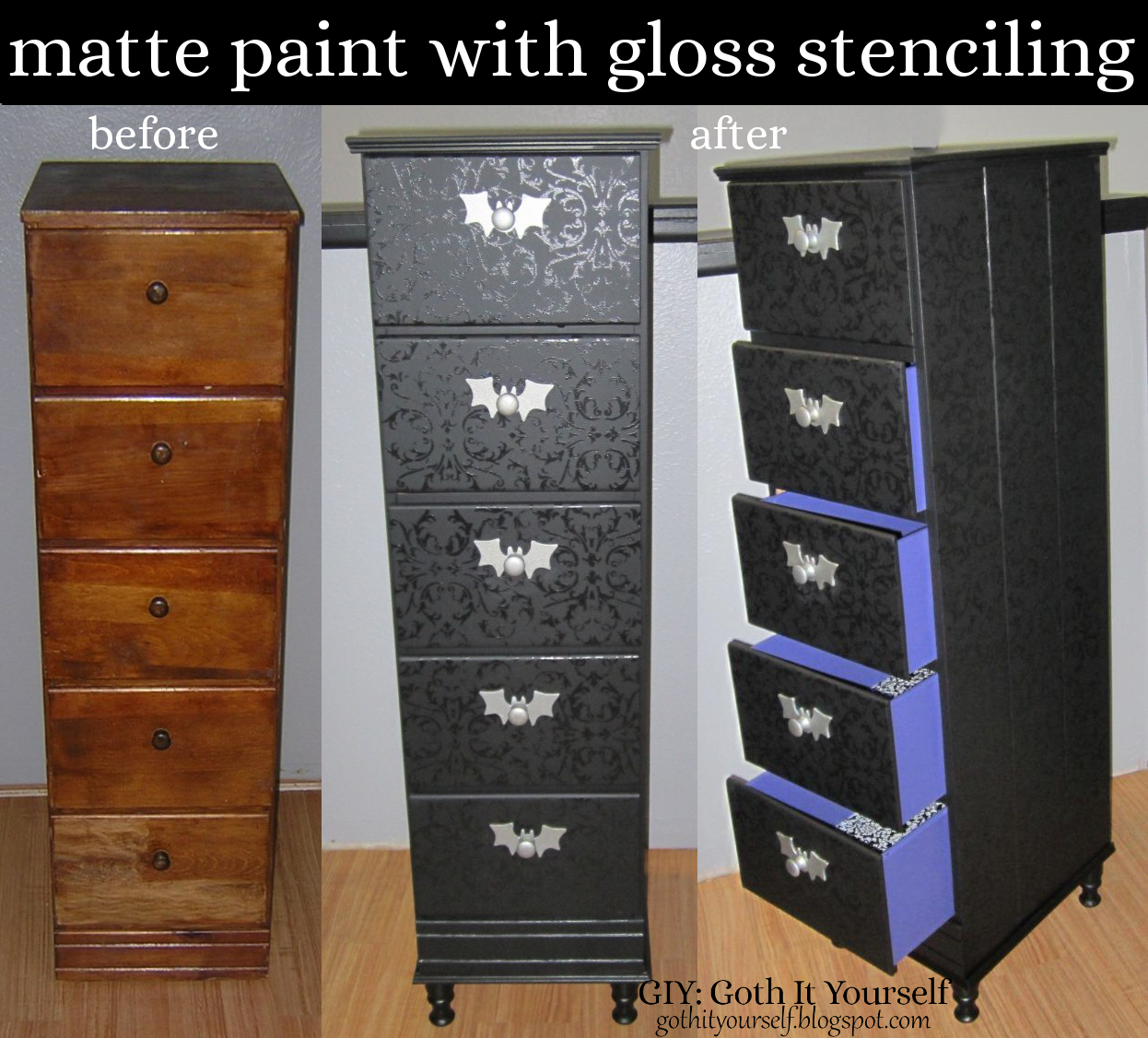 GIY Goth It Yourself BlackonBlack Chest Of Drawers - Black gloss chest of drawers