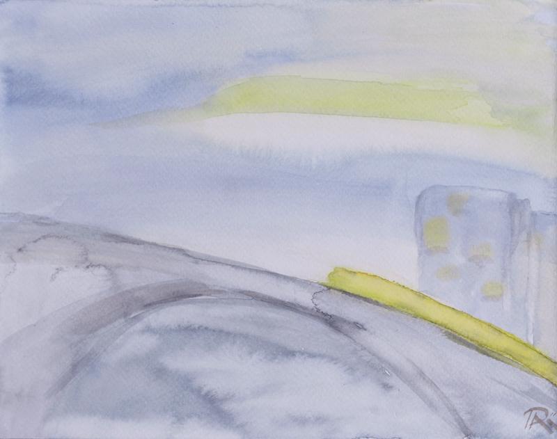 minimal landscape, waterolor, skyscape, bridge painting, contemporary art