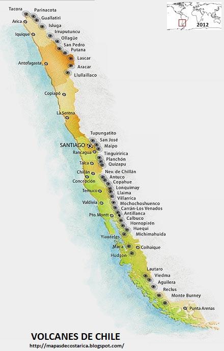 Mapa de los Volcanes de CHILE