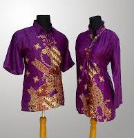 Model Baju Batik Motif Bunga Warna Ungu