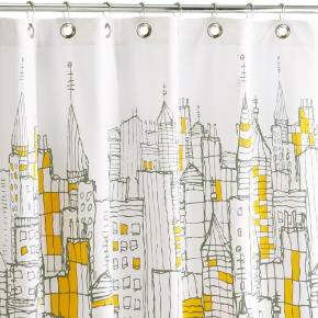 Artsy shower curtain of a city landscape.