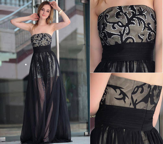 Black curves and silver bead gown for ladies