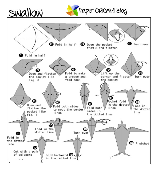 Animals Origami Swallow