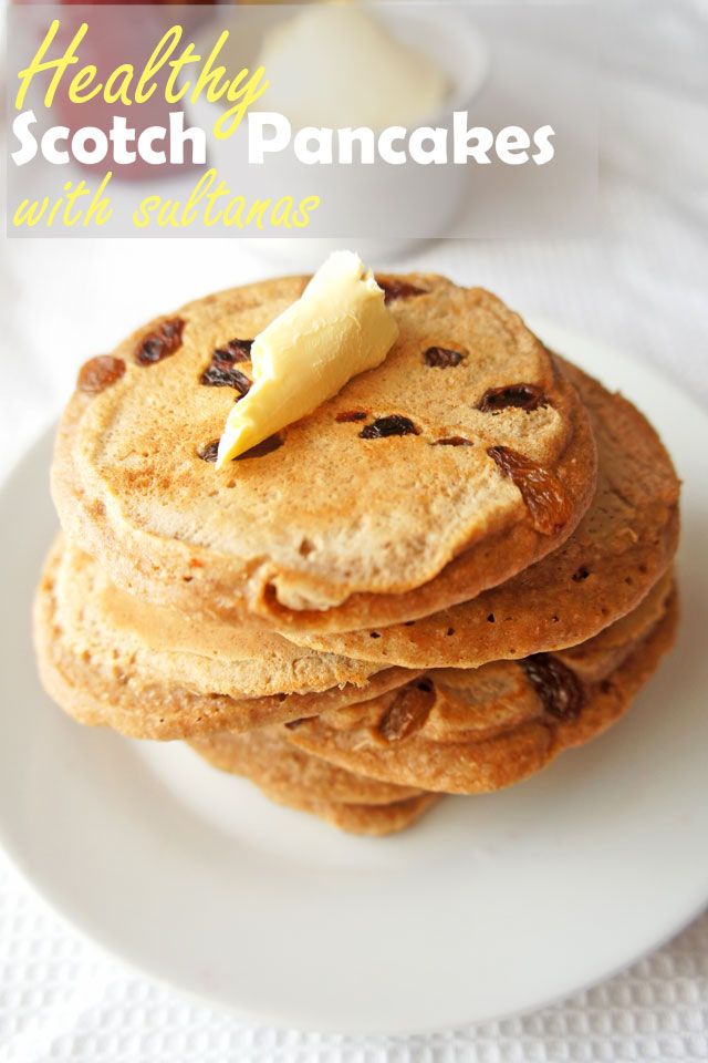 Healthy Scotch Pancakes With Sultanas. Fat little pancakes with juicy sultanas. | The Road to Less Cake | #healthy #pancakes #breakfast