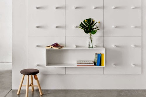 wall mounted modular storage system using wooden tube by: Aris
