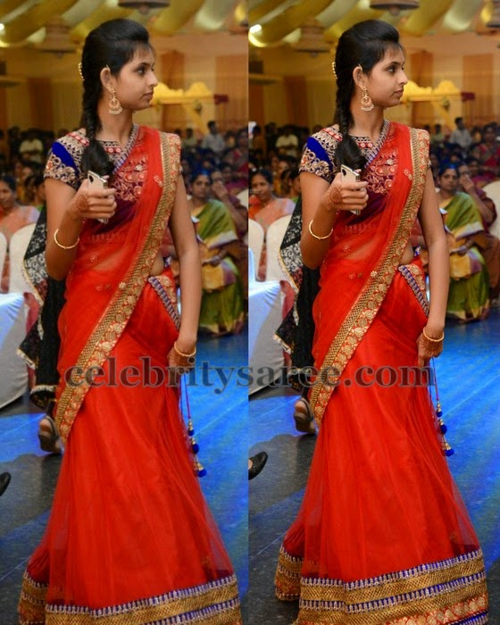 Red Half Saree Maggam Work Blouse