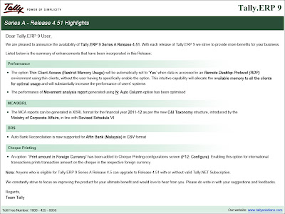 Tally.ERP 9 Rel 4.51 Launched
