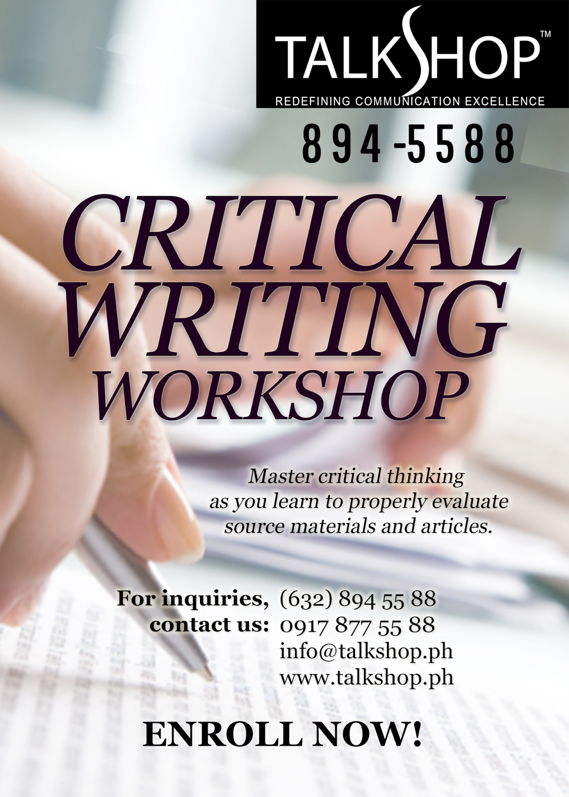 TalkShop Critical Writing Workshop
