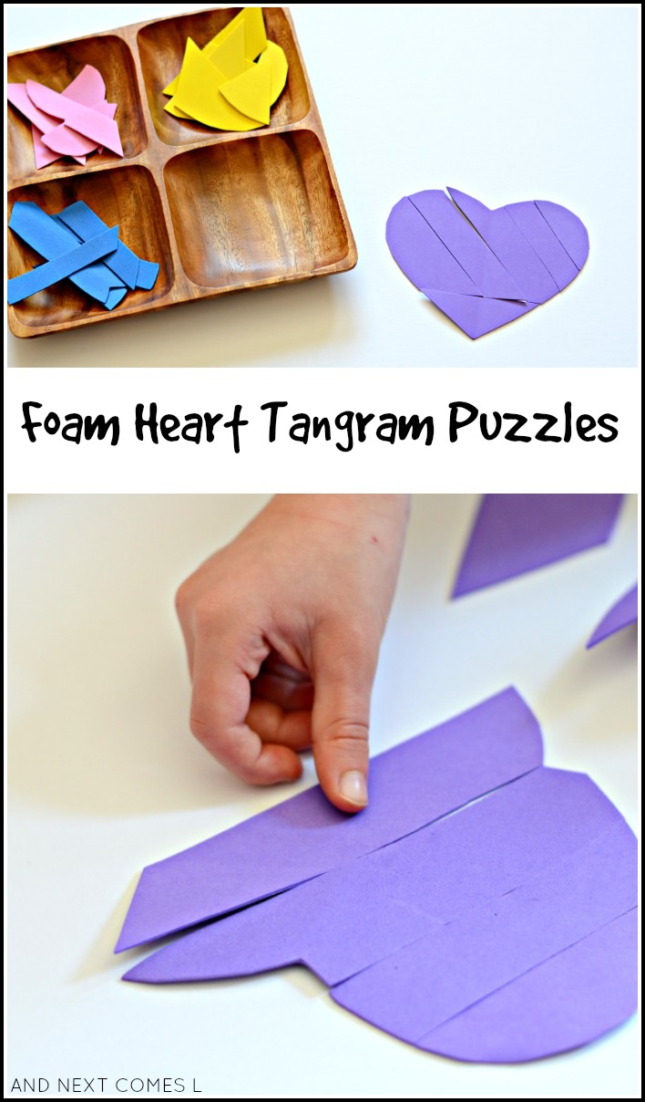 DIY foam heart tangram puzzles for kids - Valentine's math busy bag idea from And Next Comes L