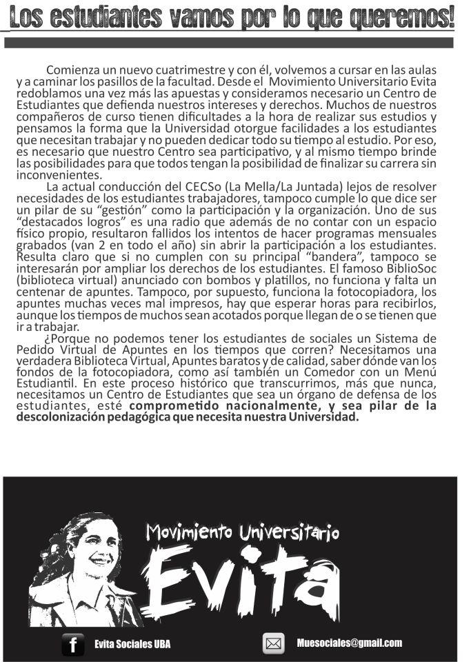 Movimiento Universitario Evita Vamos Por Las Conquistas
