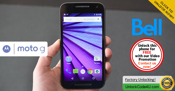 Factory Unlock Code Motorola Moto G 3rd Generation from Bell