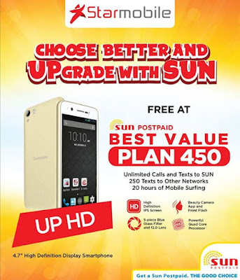 Starmobile up hd now free at sun 39 s best value plan 450 for Sun mobile plan