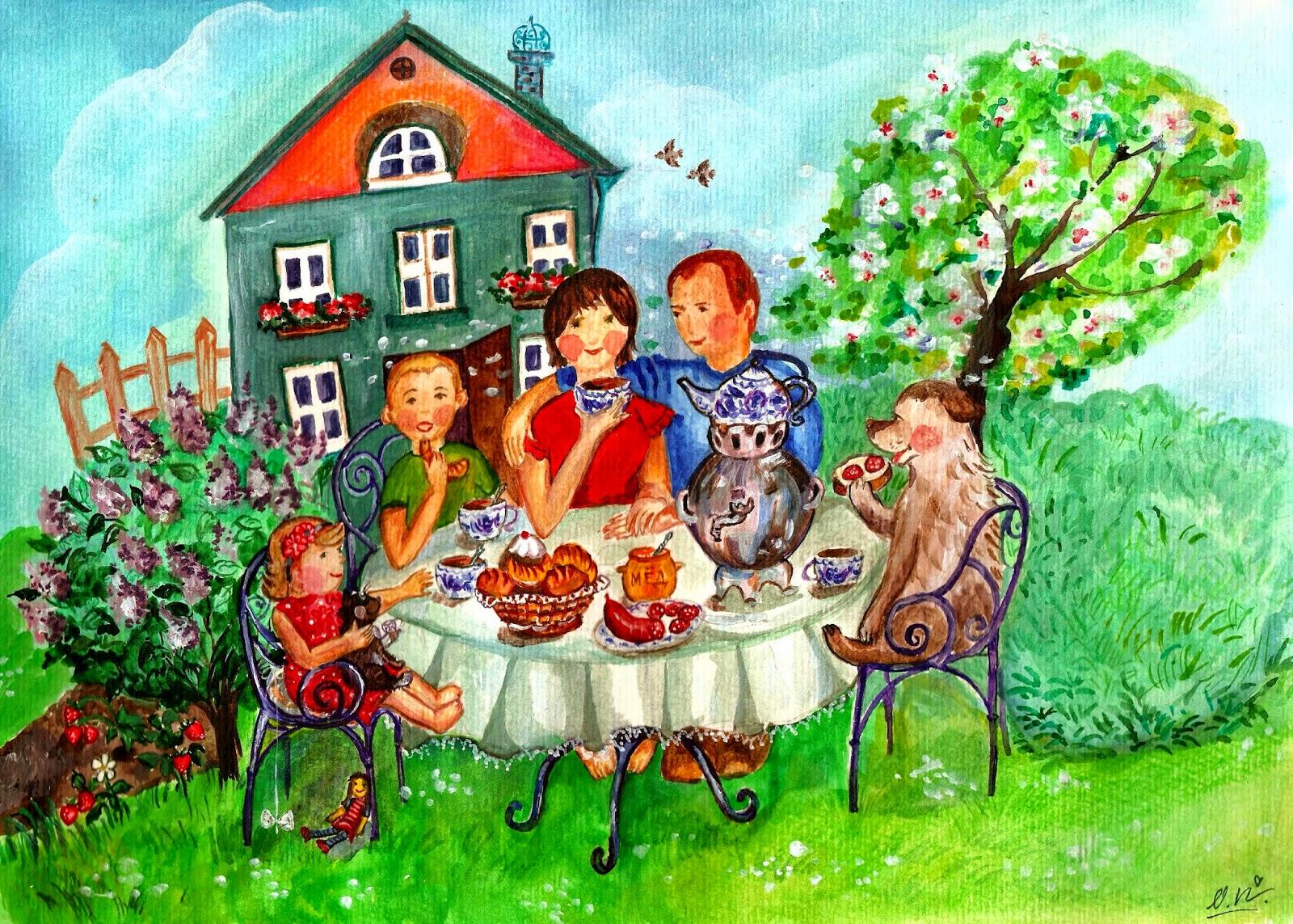 Семейная картина ручной работы