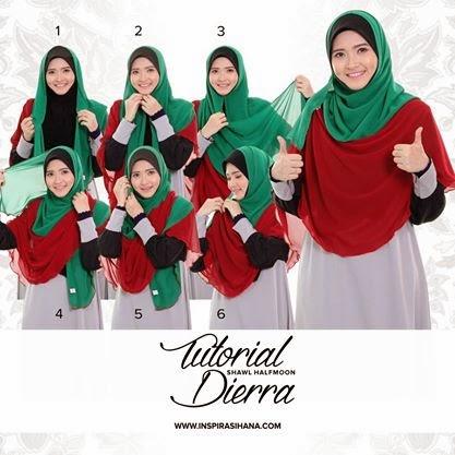 tutorial cara memakai shawl halfmoon labuh inspirasihana
