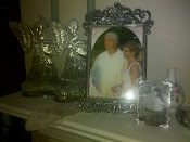 My rosebud covered handkerchief carried on our wedding day along side the wedding photo