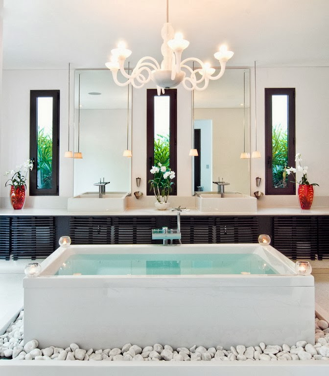 Fresh bathtub in Contemporary villa in Phuket, Thailand