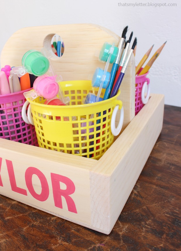 diy art caddy with supplies