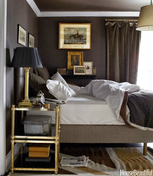 Dark grey masculine bedroom for Dark brown bedroom designs