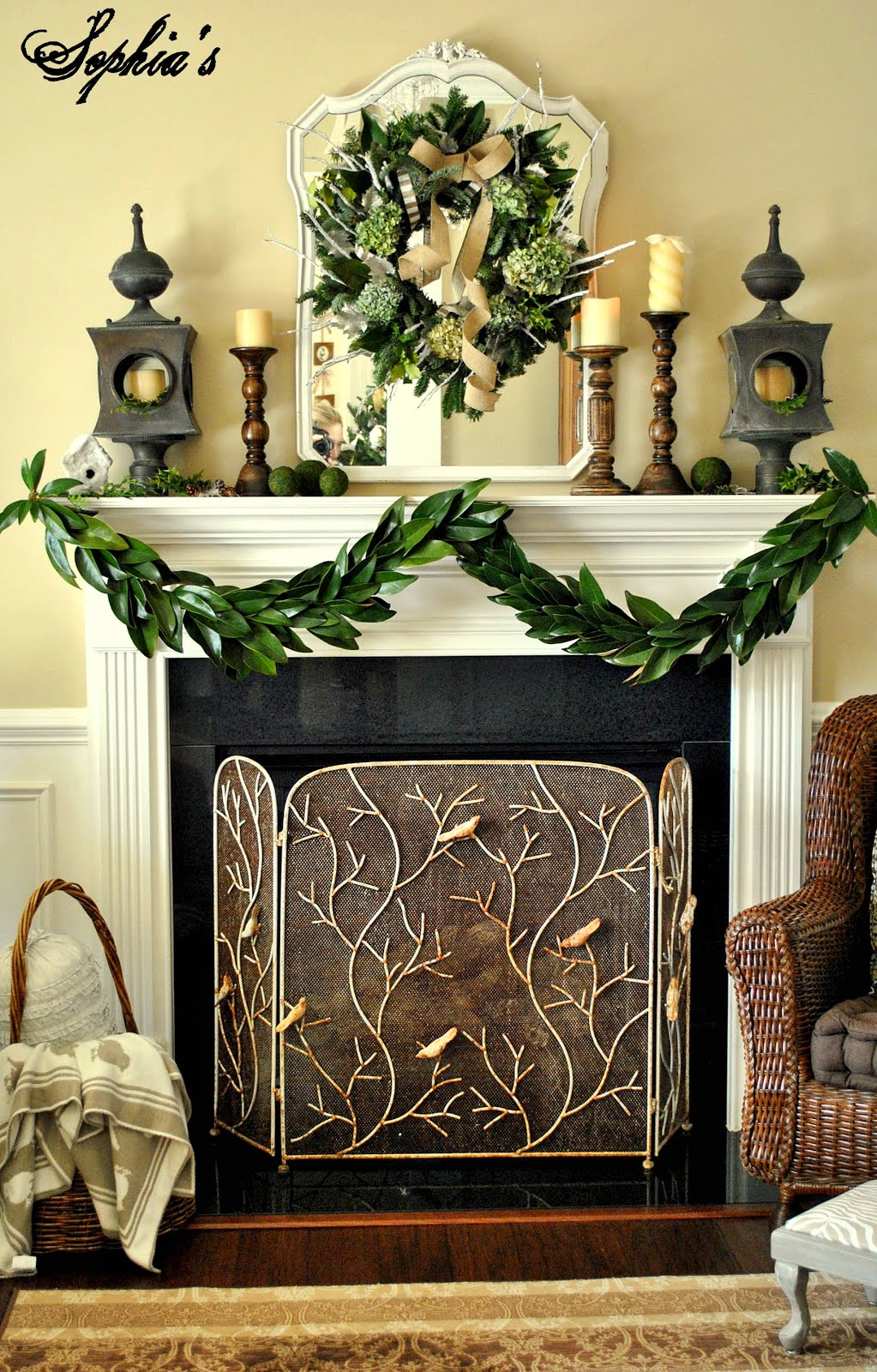 Garden-Inspired Christmas Mantel