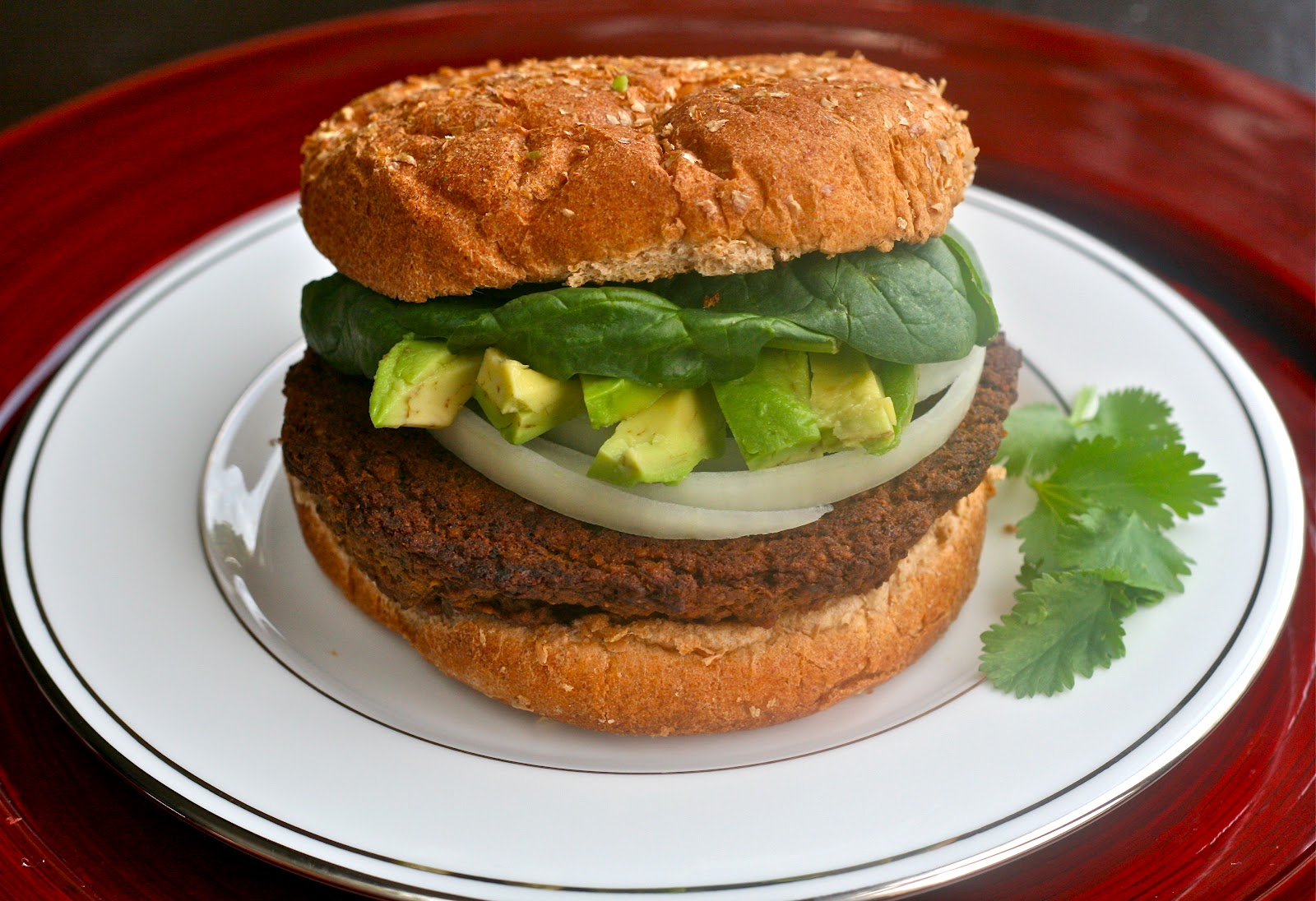 Pile your favorite burger toppings and serve on a whole wheat bun ...