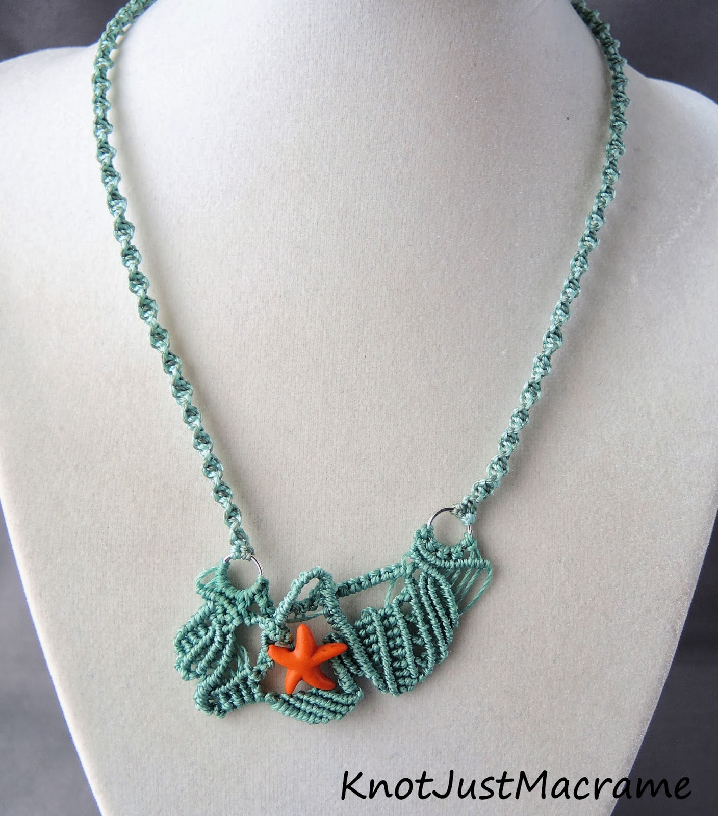 Beachy free form micro macrame in turquoise