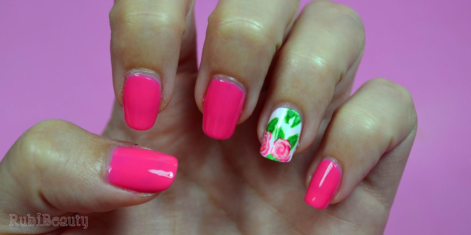 rubibeauty nail art design diseño uñas facil flores rosas