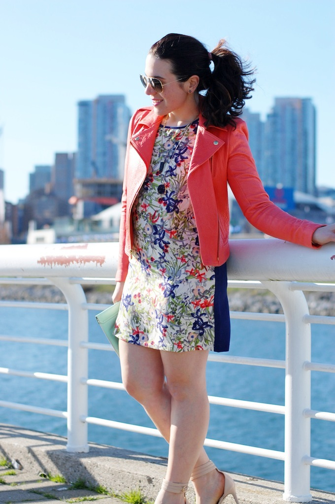 Forever 21 floral print dress and coral leather jacket theory by Vancouver fashion blogger Aleesha Harris.