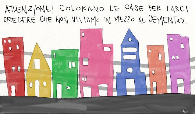 Gava gavavenezia satira vignette illustrazione caricatura fumetto ridere gavagnin marco illustratore disegno  cemento case colori città smog morte campagna natura