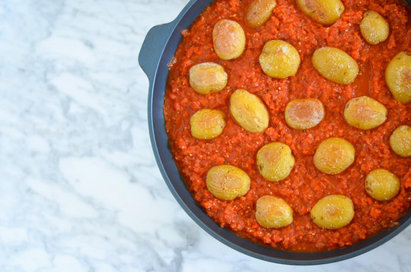 Salt Roasted Potatoes in Spanish Bravas Sauce w. Melissa's Produce | Luci's Morsels :: LA Healthy Food Blog