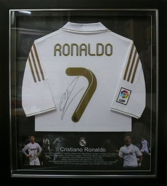 Ronaldo - Signed Jersey Framed with Background Design