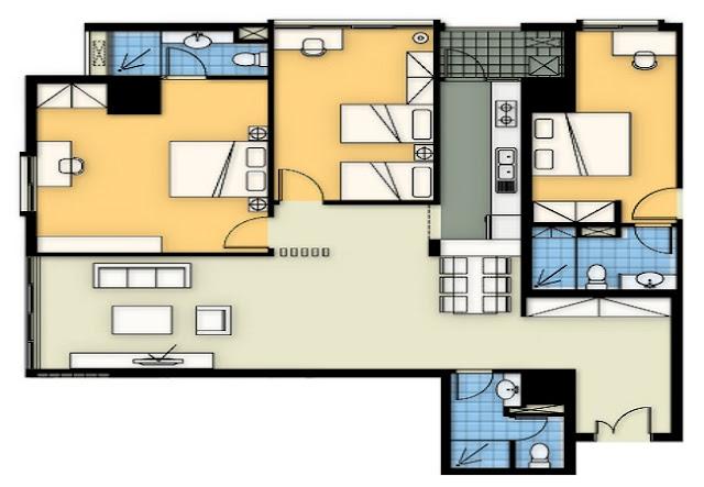 Mặt bằng căn hộ A1 chung cư 360 Giải Phóng
