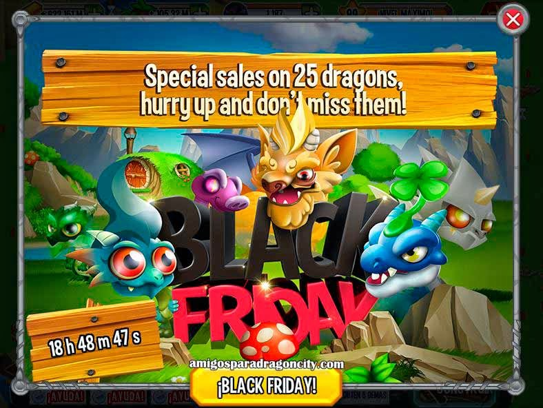 imagen de los dragones especiales del segundo dia del black friday de dragon city