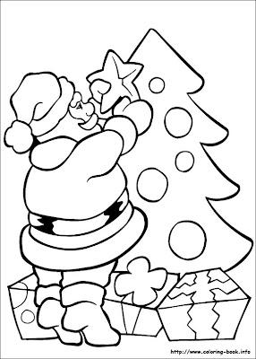 Desenho de Árvore de Natal e Papai Noel para colorir