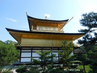 Kinkaku-ji or the Golden pavillion, Kyoto in Japan - back view