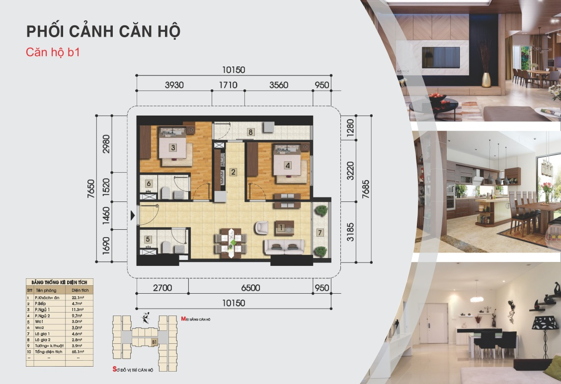 Thiết kế căn hộ b1 - Chung cư Gemek Tower II