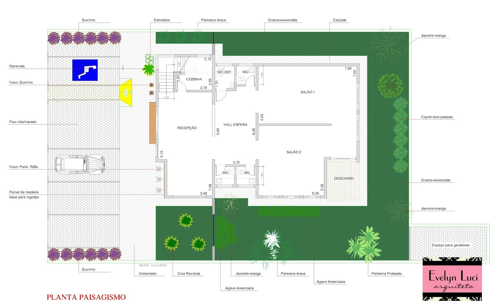 Arquiteta Evelyn Luci: Projeto: clínica de estética e salão de  #0A09C2 1600 976