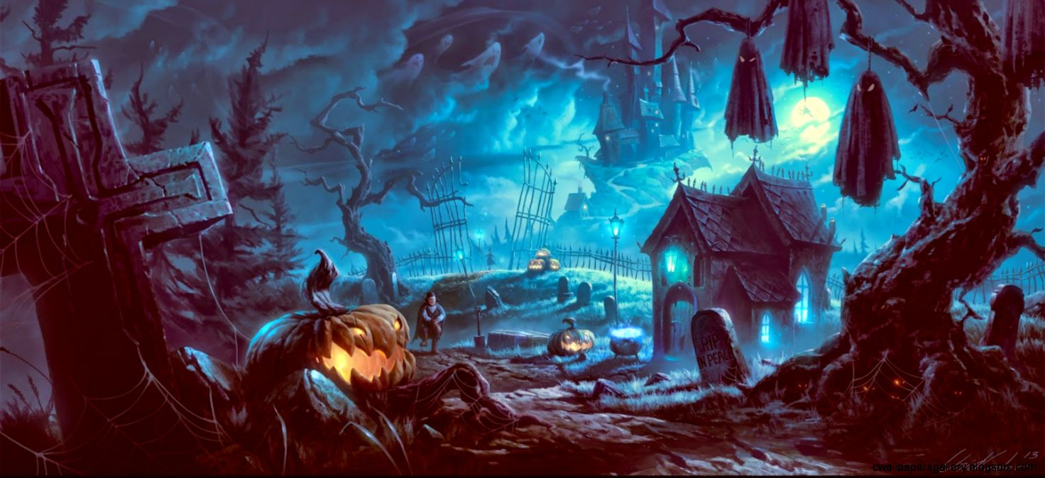 Halloween scary  nights scarecrow pumpkin haunted house HD