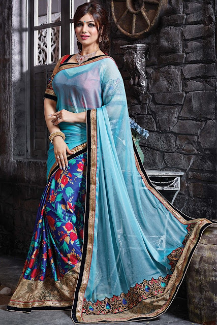 Blue Georgette Chiffon Embroidered Saree With Art Silk Blouse