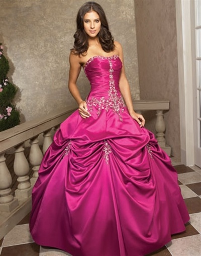 Hot Pink Wedding Photos : Heart wedding dress hot pink