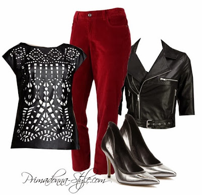 Catherine Malandrino for DesigNation Laser-Cut Faux-Leather Top  SONOMA life + style Modern Fit Skinny Corduroy Pants  bebe cropped Leather Jacket  Rock & Republic Pewter High Heels
