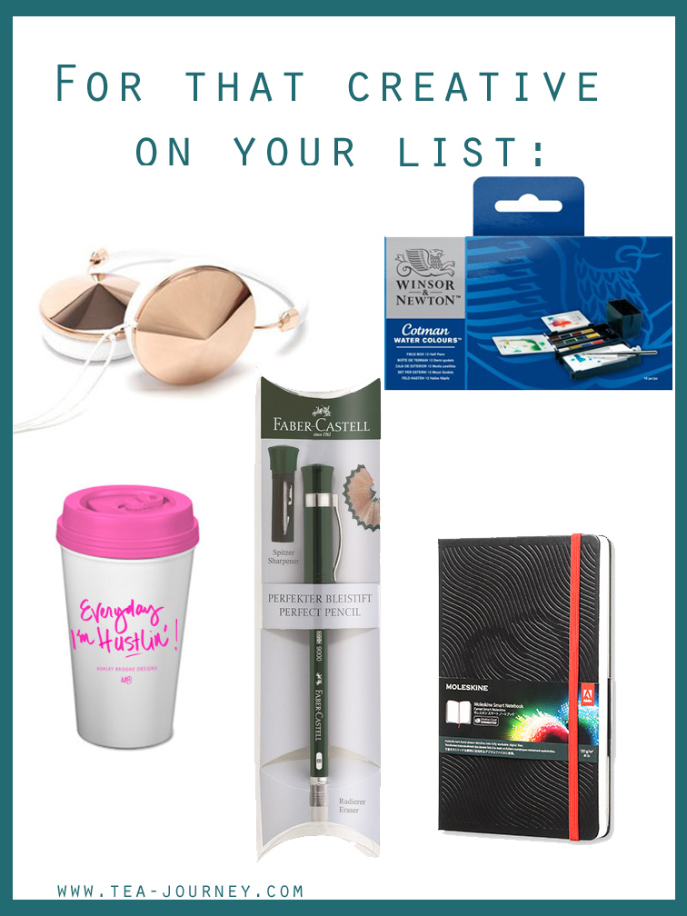 Bring the  Holiday cheer:  gift guides for  Tea lovers  and  creatives Moleskine Sloane Tea Art Watercolour Frends with Benefits Headphones  Ashley Brooke Designs Faber-castle Kate Spade Camellia-Sinensis