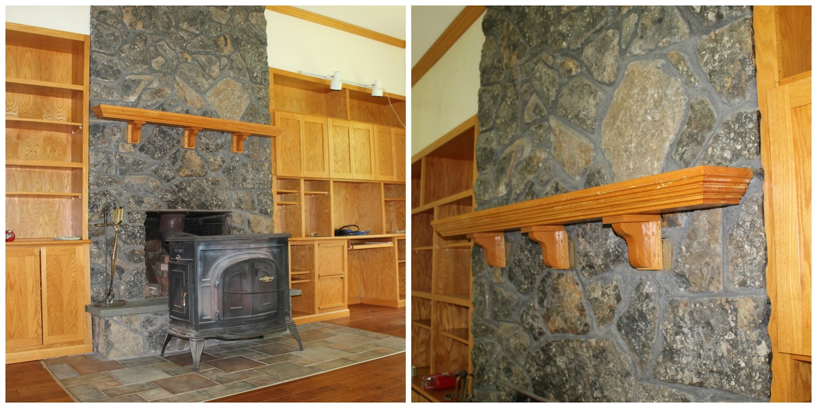 we bought a farmhouse a fireplace update installing a wood beam