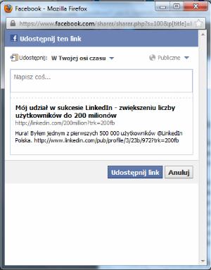 Facebook – udostępnianie statusu o tym iż byłem jednym z 500 tys. użytkowników LinkedIn w Polsce.