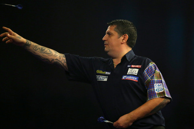 GOOD AIM: Gary Anderson in action